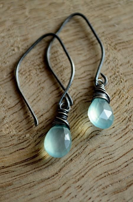Aqua chalcedony dangle earrings blue and black