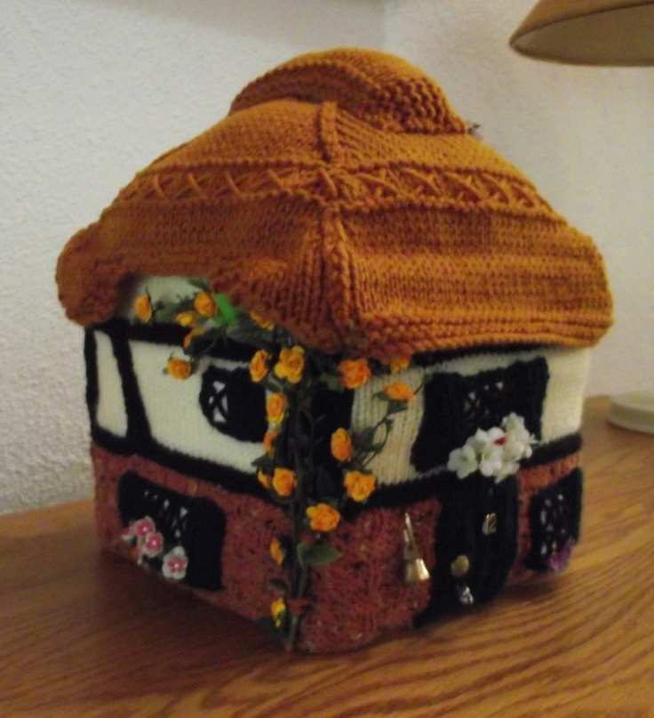 Tudor cottage style tea cozy that turned out a bit on the large side and was transformed into the Mouse House.