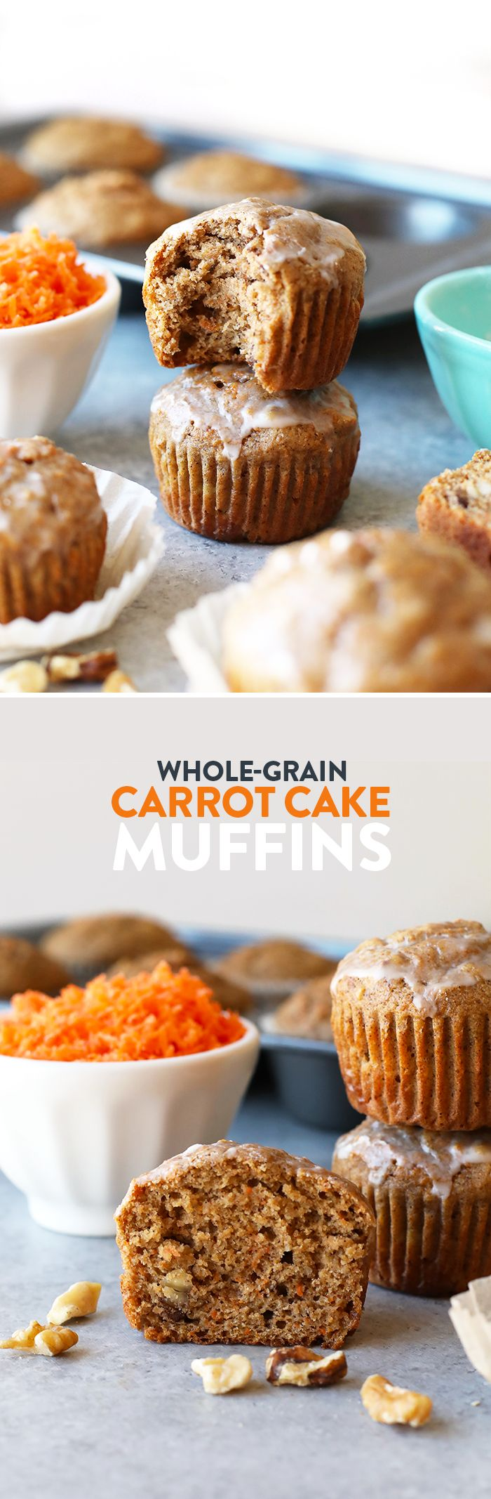 Take your muffin game up a notch with these easy whole grain carrot cake muffins. They're kid-friendly, naturally sweetened, and the perfect snack!