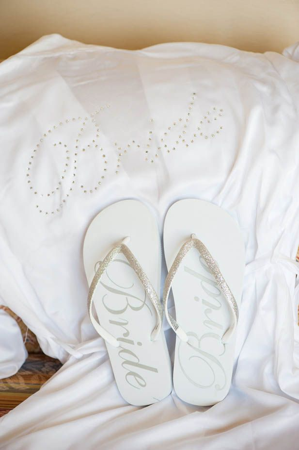 Bride robe and matching flip flops for the morning-of
