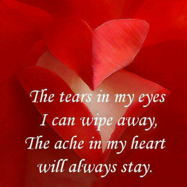 My heart aches for you my beloved. That ache will never go away because you are in my heart.... The hurt ache will though. I claim that in faith.