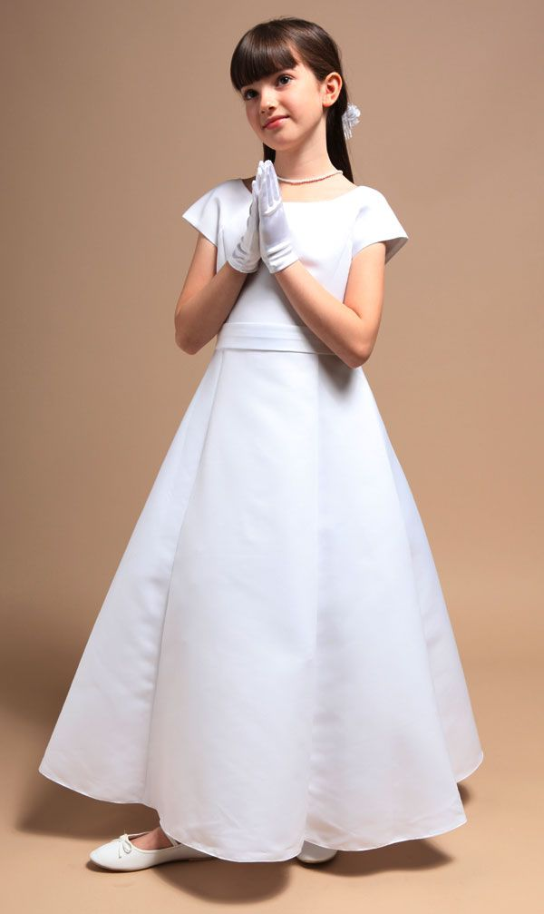 Elegant A-Line Satin Communion Dress - 2014 Flower Girl Dresses