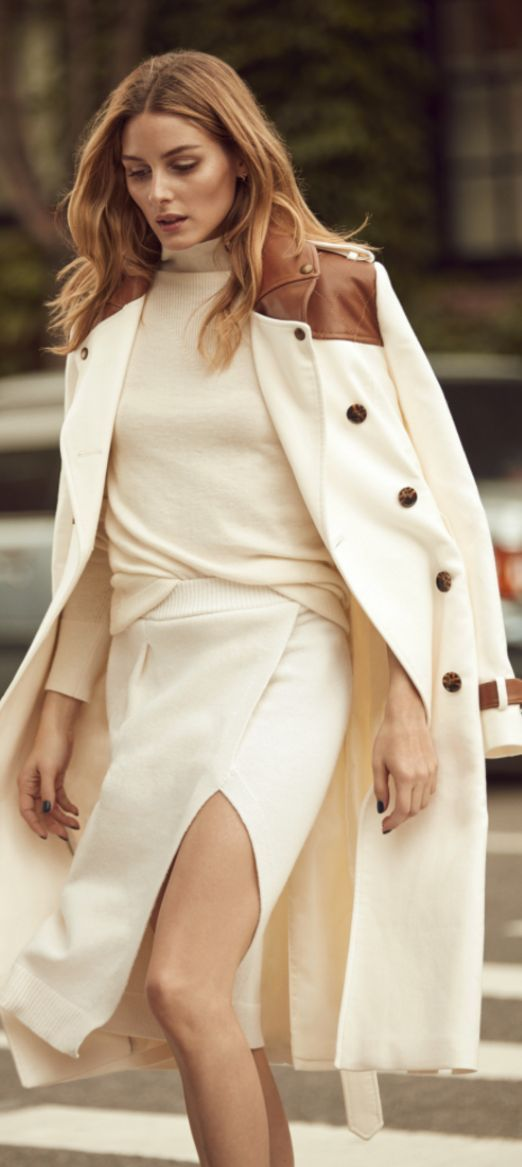 Who made  Olivia Palermo's white sweater, wrap skirt, and trench coat?