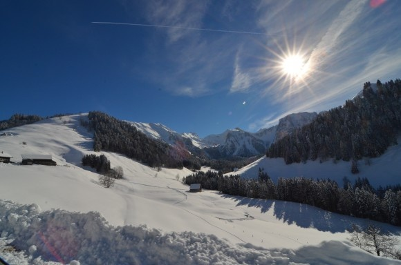 Winter scene in Charmey, La Gruyere, Switzerland. This was a memorable afternoon.