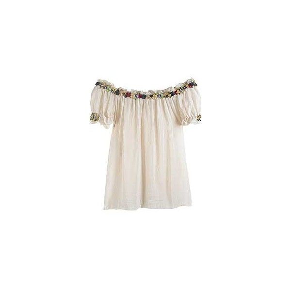 Moschino | Floral trim peasant blouse | NET-A-PORTER.COM (€1.140) ❤ liked on Polyvore featuring tops, blouses, shirts, blusas, moschino shirt, shirt blouse, moschino, peasant blouse and netted shirt
