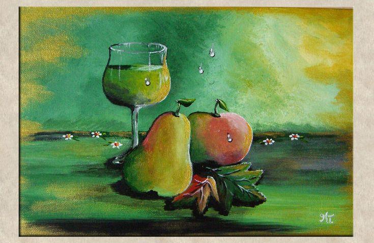 Acrylmalerei Original Obst Und Wein Ein
