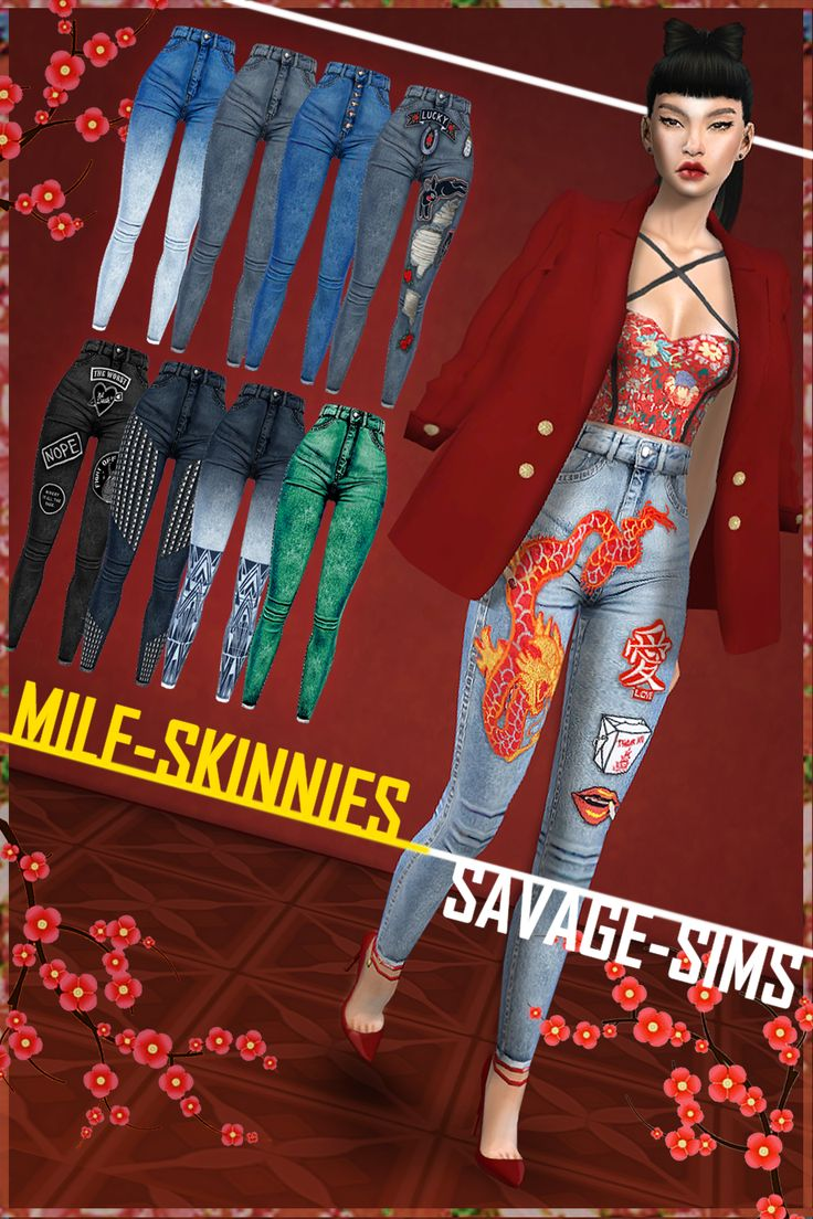 """-ALL COLORS/STYLES NOT SHOWN- -MILF SKINNIES- • New Mesh • 2 items - 1 Higwaist Jean """"Shirt tuckable"""" / 1 Highwaist Jean - """"shoe tuckable"""" (41 swatches each) • Location - Bottoms • All LOD's -ABOUT..."""