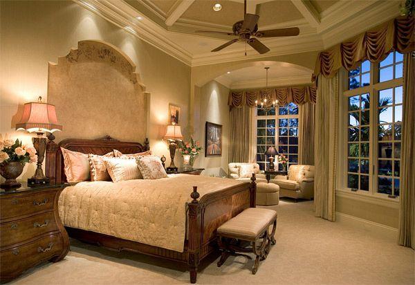 tray ceiling Mediterranean design bedroom
