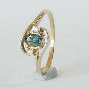 0.48CT.Earth Mined Australian Sapphire  in Solid 9KYellow Gold Ring Size:P-7.5            RI313