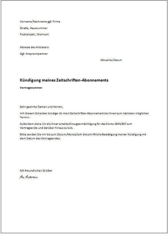 mietvertrag kündigung vorlage