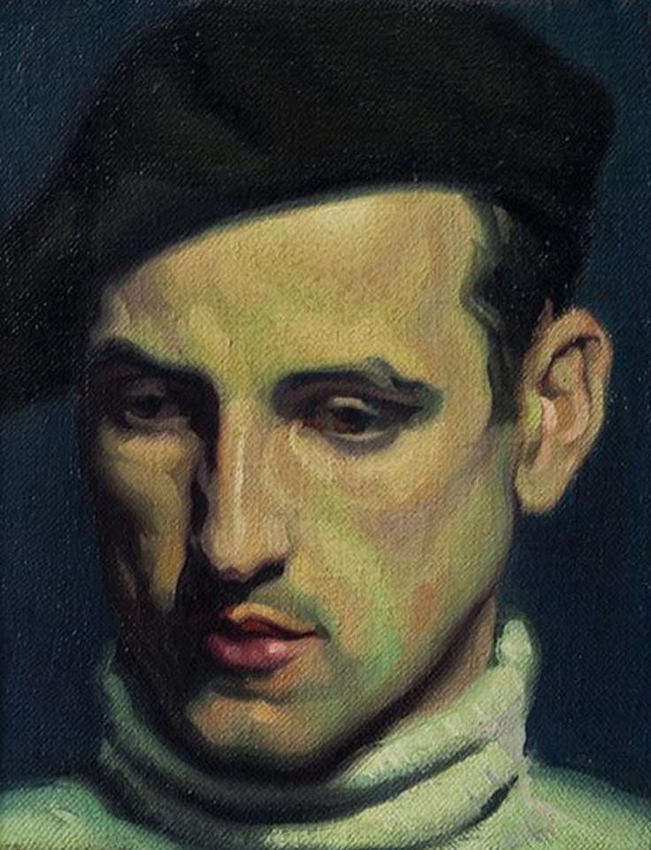 Head of young Parisian - Gerardo Sacristán Torralba , 1930.  Spanish, 1907-1964, Oil on canvas, 26 x 22 cm.