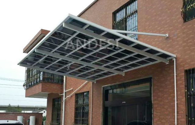 Wall Mounted Style Shelter For Warehouse Front Door In White Frame Dark Roofing Aluminum Pergola Aluminum Carport Carport