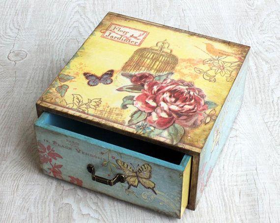 Wooden jewelry drawer Cottage Chic drawer shabby chic por ArtDidi