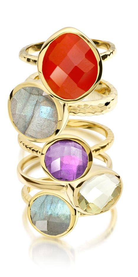 Monica Vinader Ring Stack In Variety Of Stones 18 Carat Yellow Gold