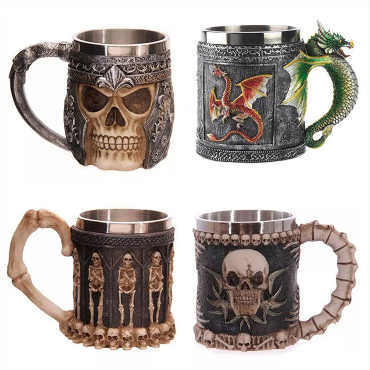 Personalized Double Wall Stainless Steel 3D Skull Mugs Coffee Tea Bottle Mug Skull Knight Tankard Dragon Drinking Cup Kup  Milk