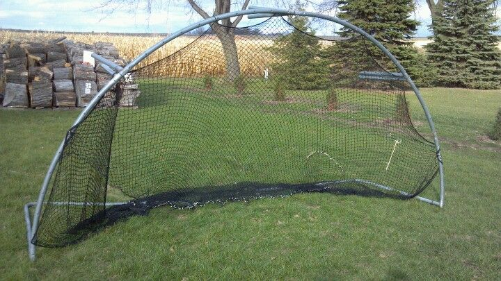 """""""Batting net made from an old trampoline :)"""" .. My best friend, Brianna Schaefer, is a genius and made this."""