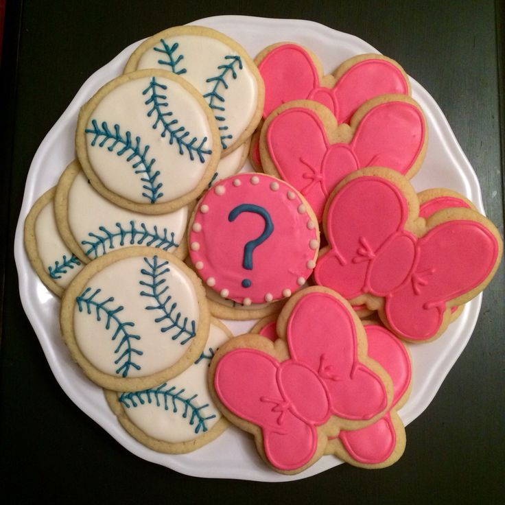 Baseballs Or Bows Gender Reveal Sugar Cookies With Royal