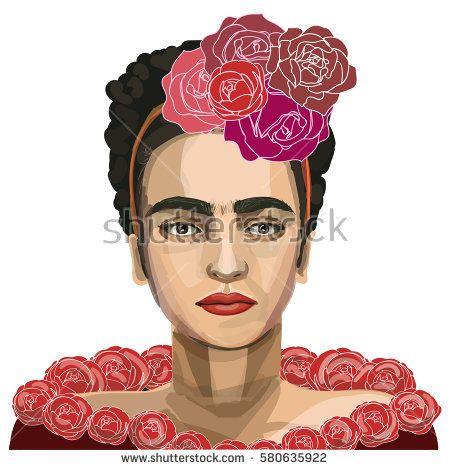 February 16, 2017: a vector illustration of mexican artist Frida Kahlo. Portrait.