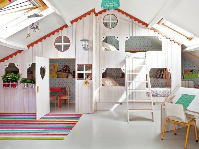 Attic turns kids bedroom and playroom!