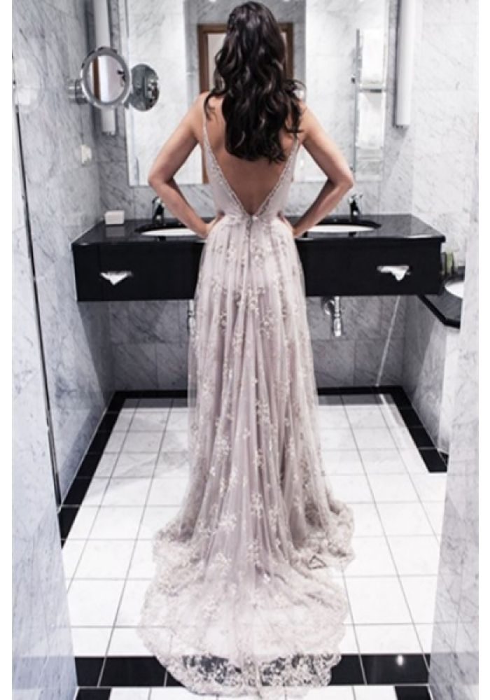 Sexy Grey V-neck Long Lace Backless Prom Dresses,Evening