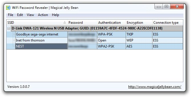 The Magical Jelly Bean WiFi password revealer / finder is a freeware utility that helps you to find your lost passwords to saved wireless networks.