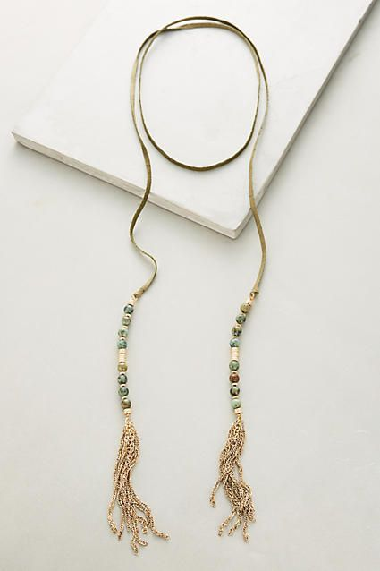 Anthropologie Beaded Suede Necklace