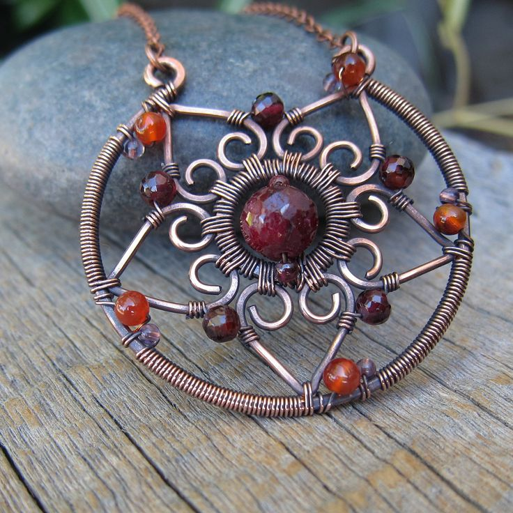 Autumn Sun Mandala ... Wire Wrapped Necklace.