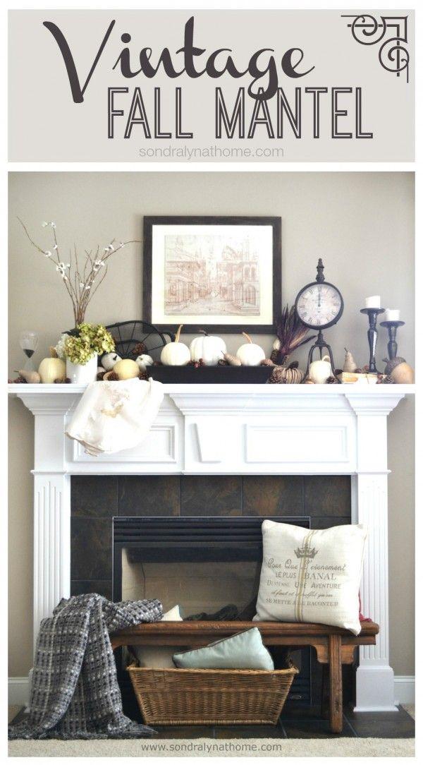 Vintage Fall Mantel Decor - Sondra Lyn at Home