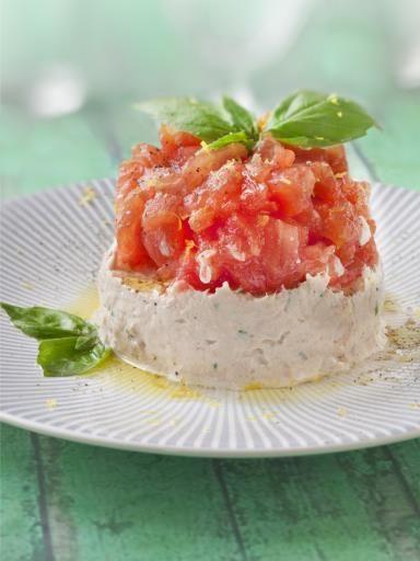poivre, ciboulette, fromage frais, tomate, vinaigre balsamique, vinaigre balsamique, vinaigre, sel, thon