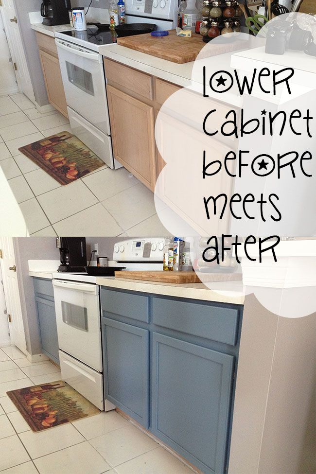 Comparison of lower cabinets before and after paint