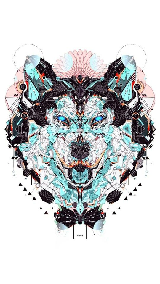 Wolf #design #color #abstract