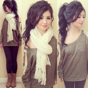 Outfit #5 - Army Green, V-Neck, Long Sleeve Shirt - Black Jeans - White Scarf or White Infinity Scarf - Black Boots or Tan Boots