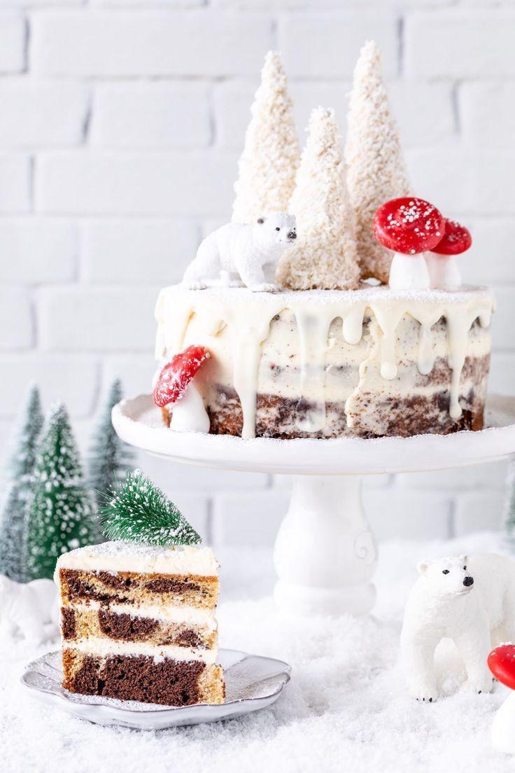 Tannenbaum Rezept.Werbung Marmorkuchen Torte Rezept Winterlandschaft Backen