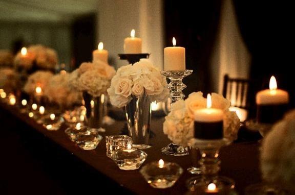 pretty: White Flowers, Wedding Receptions Decor, Weddings, Candles, Receptions Ideas, Centerpieces, Head Tables, Tables Decor, Elegant Wedding
