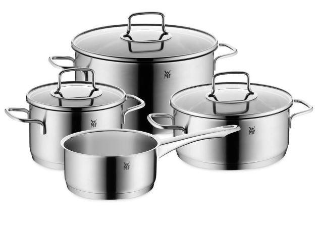 Merano grydesæt i rustfrit stål fra WMF.   3 stk. gryder 2 liter, 3 liter 6 literog 1 kasserolle 1,5 liter + 3 glas låg. Str. Ø24 cm. Ø20 cm. Ø16 cm. Ø16 cm.