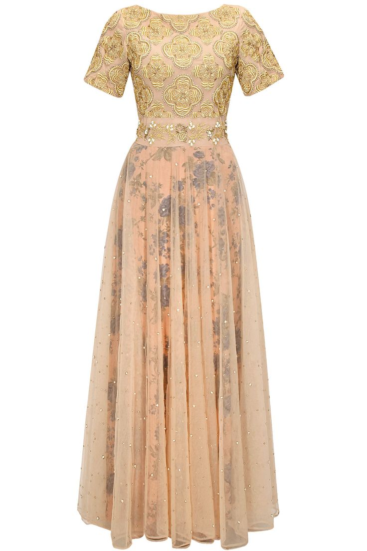Nude jaal embroidered floral print anarkali set available only at Pernia's Pop-Up Shop.