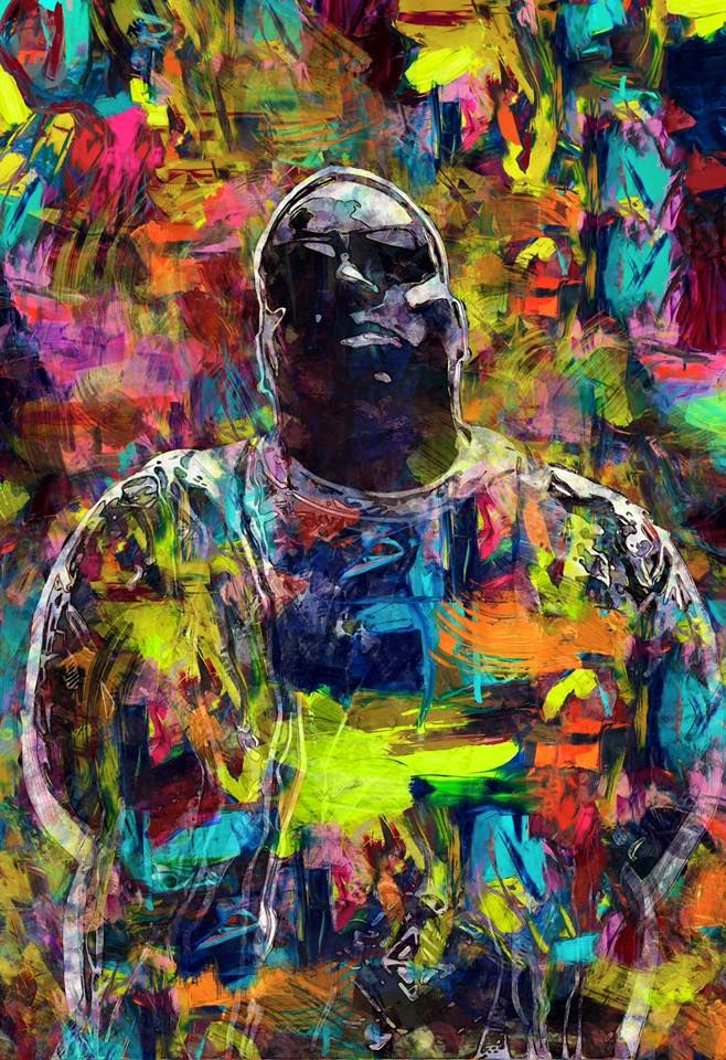 "Artwork of Rainbow-Colored, Splattered-Paint Portrait of Christopher George Latore Wallace, the American Rapper Better Known by His Stage Names: ""The Notorious B.I.G."", ""Biggie"", and ""Biggie Smalls"" (658×960)"