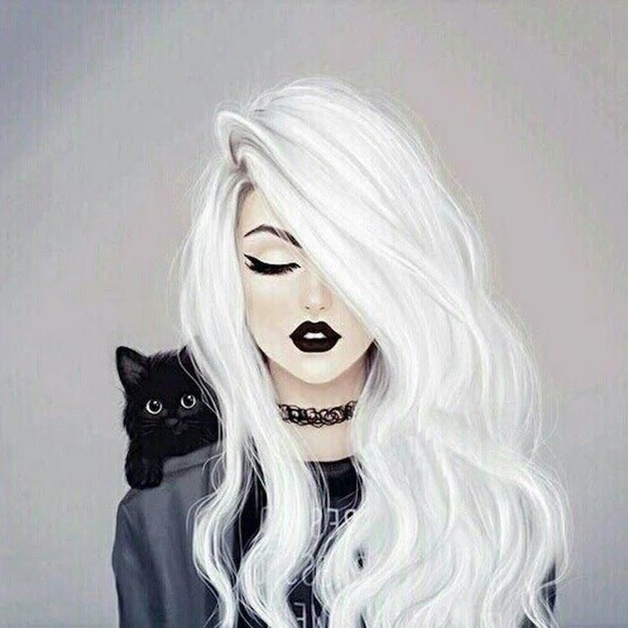 Woman Drawing White Hair Black Lips Cat Necklace Eyeliner Black Top Grey Jacket In 2020 Female Face Drawing Girl Drawing Drawings