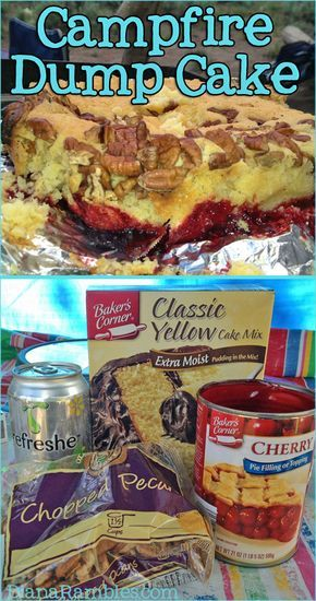 Here is my last dessert recipe of my 2013 campfire series. This is a classic recipe made in the dutch oven! Campfire Dump Cake (in a dutch oven) Yellow Cake Mix Can of Soda (we used lemon-lime) Cherry Pie filling Chopped Pecans Directions Create hot coals