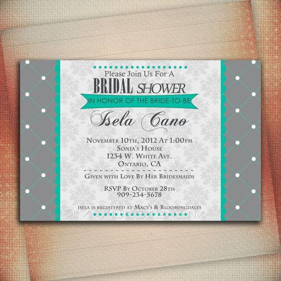 Teal Bridal Shower Invitation, Baby Shower Invitation, Wedding Invite, Personalized Bridal Shower Invitation - Digital File You Print