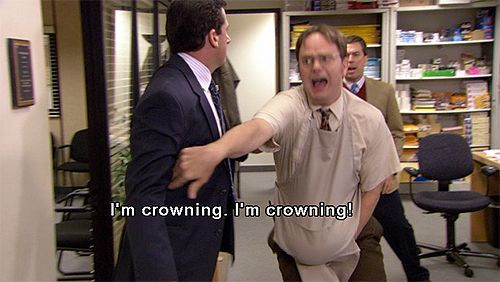 "The Office, ""Baby Shower"" - when Dwight gives birth to a buttered watermelon...haha!"