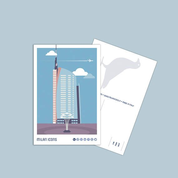 Milan Icons Postcard  Unicredit Tower, piazza Gae Aulenti, Milan
