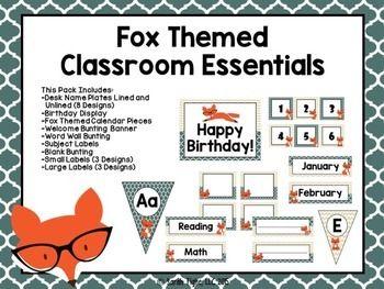 Cute fox themed classroom set!