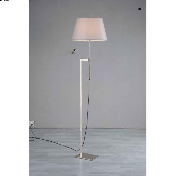 Lampadaire une lumière en métal finition nickel satiné avec abat-jour blanc