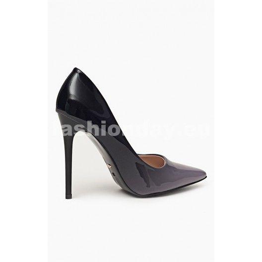 Lodičky v čierno sivej farbe s vysokým podpätkom - fashionday.eu