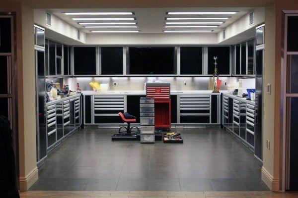 50 Man Cave Garage Ideas Modern To Industrial Designs Garage Storage Plans Man Garage Garage Interior