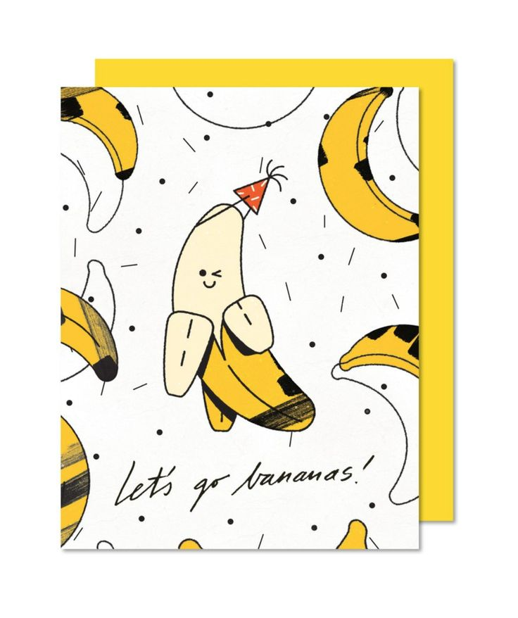 Let's go bananas ! Greeting card Yellow envelope Printed in Montréal Illustrated by Justyna Stasik