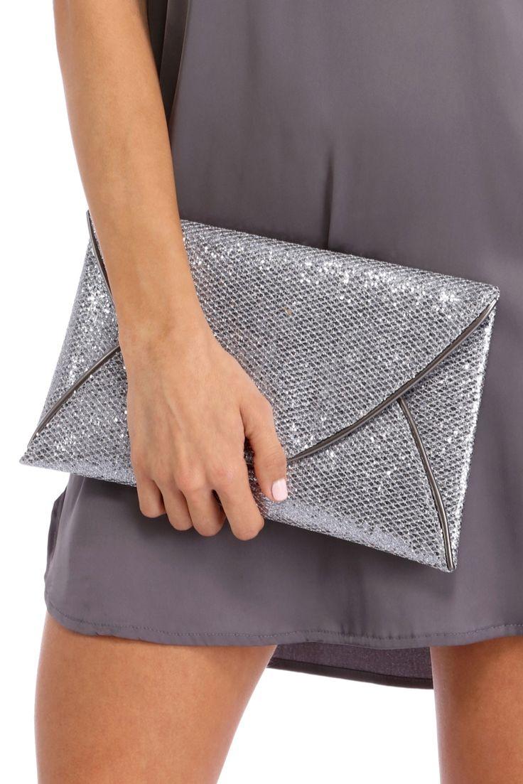 Final Sale- Silver Large Glitter Envelope Clutch