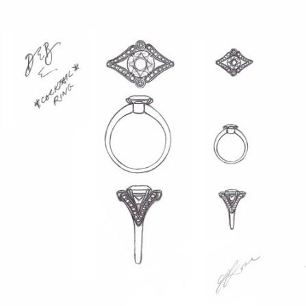 Diamond ring sketch by Sally Rose White Label. Engagement ring, Melbourne