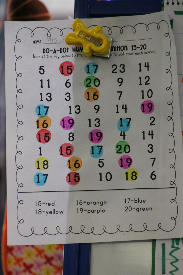 Teen numbers reinforcement; dot numbers by color code.